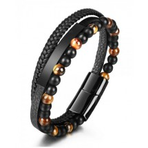 AB 0199 Stainless steel-Leather-Tigers Eye