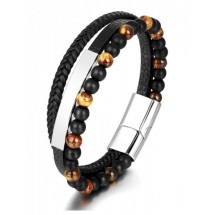 AB 0233 Stainless steel-Leather-Tigers Eye
