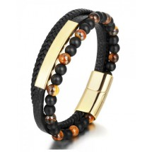 AB 0241 Stainless steel-Leather-Tigers Eye