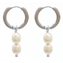 AK 0078 Stainless steel earrings/Freshwater Pearls