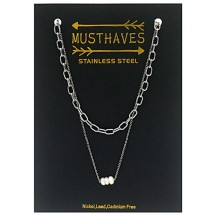 AF 0305 Stainless steel necklace/Freshwater Pearl