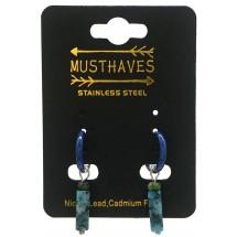 AK 0096 Stainless steel earrings/natuursteen