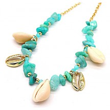 E 0100 Necklace Amazon Stones and Shells Gold