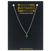 AF 0297 Stainless steel necklace/Natuursteen