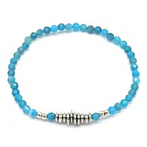 C 0196 Aventurine Stones Bracelet Blue-Silver