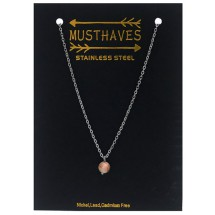 AF 0301 Stainless steel necklace/Natuursteen