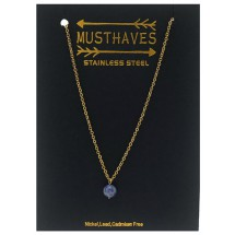 AF 0304 Stainless steel necklace/Natuursteen