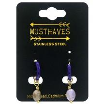 AK 0098 Stainless steel earrings/natuursteen