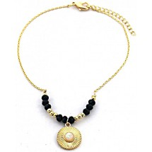C 0181 Anklet with Black Onyx Gold