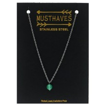 AF 0299 Stainless steel necklace/Natuursteen