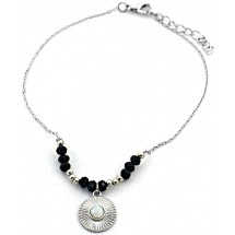 C 0182 Anklet with Black Onyx Silver