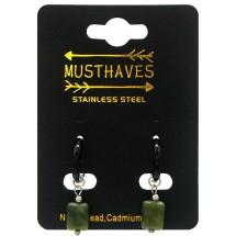 AK 0088 Stainless steel earrings/natuursteen