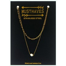 AF 0308 Stainless steel necklace/Freshwater Pearl